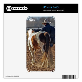 Picture Of A Horse Walking With A Cowboy iPhone 4 Decals