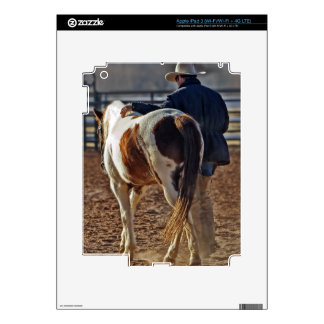 Picture Of A Horse Walking With A Cowboy iPad 3 Skins