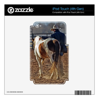 Picture Of A Horse Walking With A Cowboy iPod Touch 4G Skin