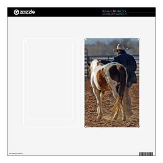 Picture Of A Horse Walking With A Cowboy Kindle Fire Skin