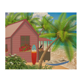 Picture of a house overlooking the ocean beach wood print