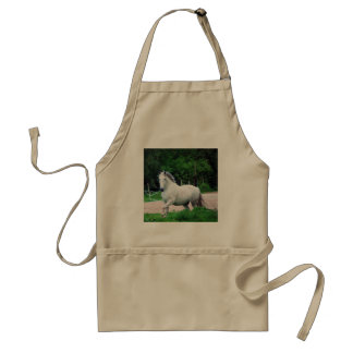 Picture Of A White Horse Running On The Field Adult Apron