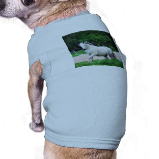 Picture Of A White Horse Running On The Field Doggie Tshirt