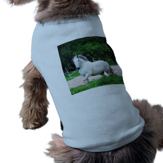 Picture Of A White Horse Running On The Field Pet Shirt