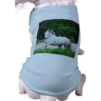 Picture Of A White Horse Running On The Field Doggie T Shirt