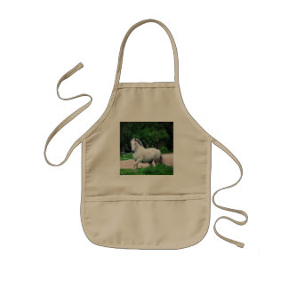 Picture Of A White Horse Running On The Field Kids' Apron