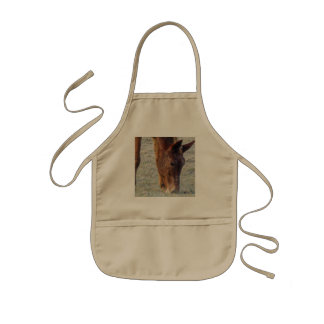 Picture Of A Wild Horse Grazing Kids' Apron