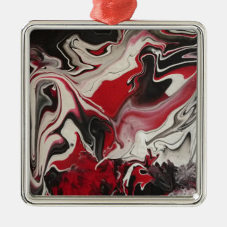 Picture of an Abstract painting by S.B. Eazle Square Metal Christmas Ornament
