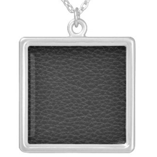 Picture of Black Leather. Silver Plated Necklace