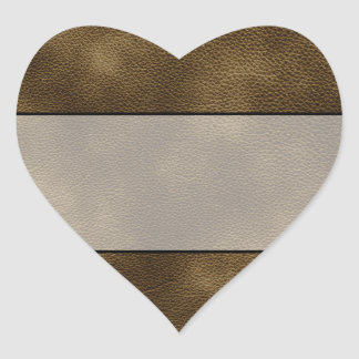 Picture of Brown Leather. Heart Sticker