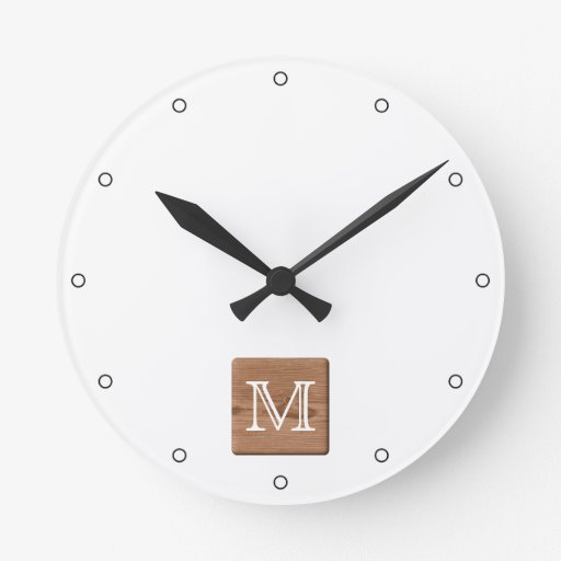 Picture of Brown Wood and Custom Monogram Letter. Clocks
