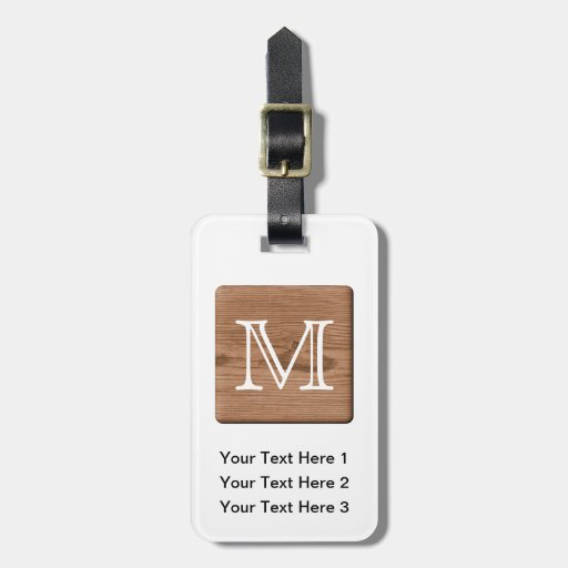 Picture of Brown Wood and Custom Monogram Letter. Luggage Tag