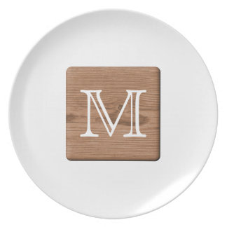 Picture of Brown Wood and Custom Monogram Letter. Melamine Plate