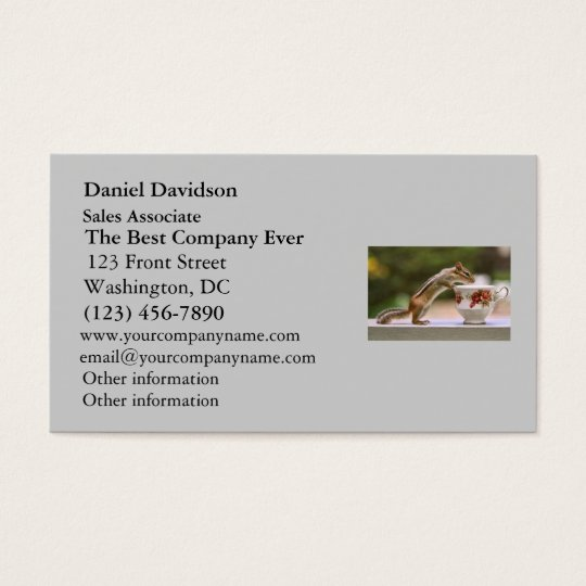 Picture of Chipmunk with China Teacup Business Card