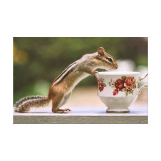 Picture of Chipmunk with China Teacup Canvas Prints