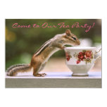 Picture of Chipmunk with China Teacup 5x7 Paper Invitation Card