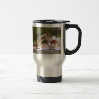 Picture of Chipmunk with China Teacup 15 Oz Stainless Steel Travel Mug