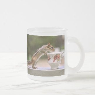 Picture of Chipmunk with China Teacup 10 Oz Frosted Glass Coffee Mug