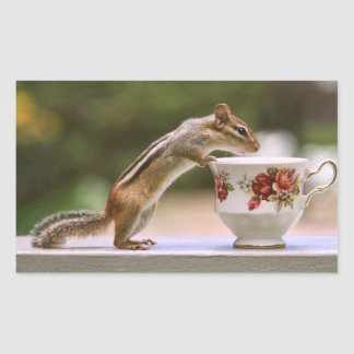 Picture of Chipmunk with China Teacup Rectangular Sticker