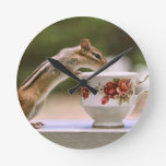 Picture of Chipmunk with China Teacup Round Clock