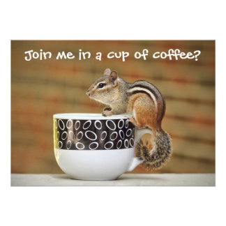 Picture of Chipmunk with Latte Coffee Cup Custom Invitation