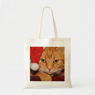 picture of christmas cat tote bag