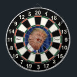 "Picture of Donald Trump Dartboard With Darts<br><div class=""desc"">Picture of Donald Trump Dart Board. With the words Bad, Good on it in black text. You can change the text if you like.</div>"