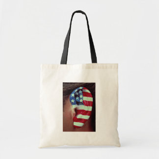 Picture of Ear, painted American flag Budget Tote Bag