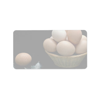 Picture of Eggs arranged in a bowl Label