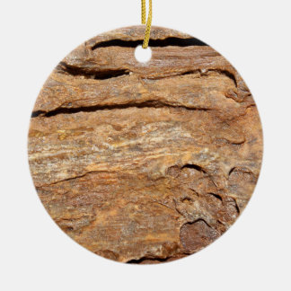 Picture of Fossilized Wood. Double-Sided Ceramic Round Christmas Ornament