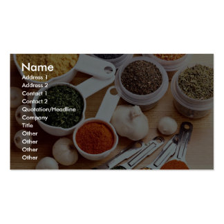 Picture of Fresh spices with garlic cloves Business Card Template