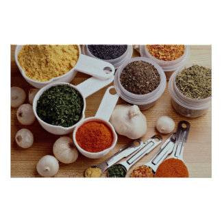 Picture of Fresh spices with garlic cloves Poster