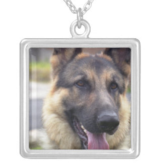 Picture of German Shepherd Business Card Square Pendant Necklace