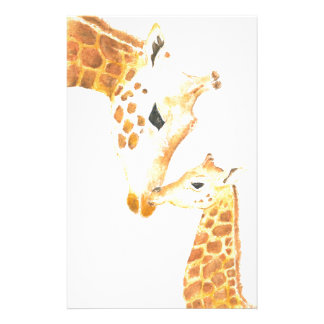Picture of giraffe and her baby stationery