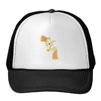 Picture of giraffe and her baby trucker hat