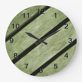 Picture of Green Planks of Wood Wall Clock