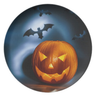 Picture Of Halloween Holiday Background, Carved Dinner Plate