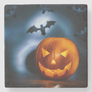 Picture Of Halloween Holiday Background, Carved Stone Coaster