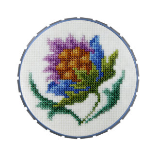 Picture of hand embroidered bright flower candy tins