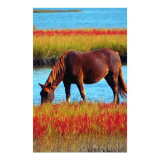 Picture Of Horses - A Horse Grazing Near A River Personalized Stationery