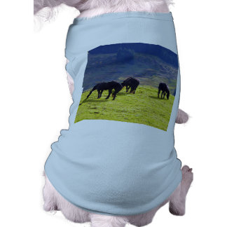 Picture Of Horses Grazing On The Field Dog T Shirt