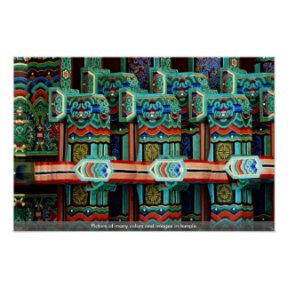 Picture of many colors and images in temple poster