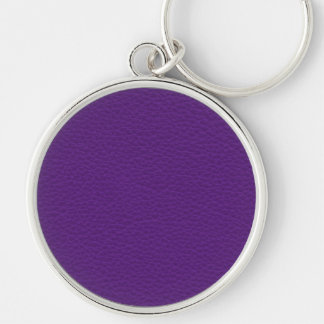 Picture of Purple Leather. Silver-Colored Round Keychain