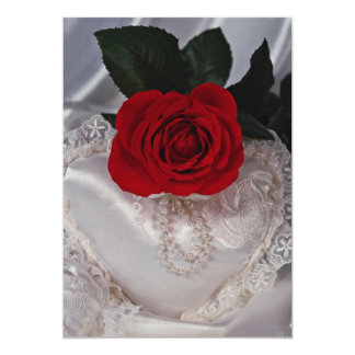 Picture of Red rose on white heart 5x7 Paper Invitation Card