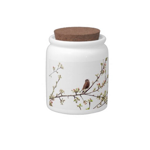 Picture of Sparrow Singing in Flowering Tree Candy Dish