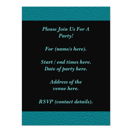 Picture of Teal Leather. Personalized Announcements