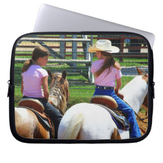 Picture Of Two Young Cowgirls Riding Horses Laptop Sleeve