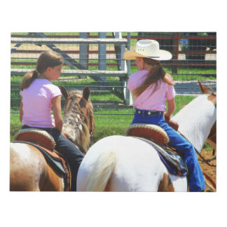 Picture Of Two Young Cowgirls Riding Horses Memo Notepads