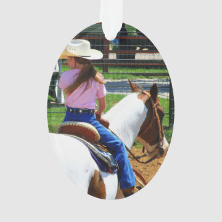 Picture Of Two Young Cowgirls Riding Horses Ornament