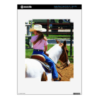 Picture Of Two Young Cowgirls Riding Horses iPad 3 Decals